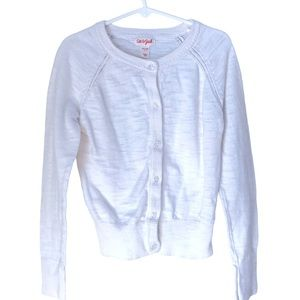 Cat & Jack White Girl's Cotton Cardigan-Size 7/8